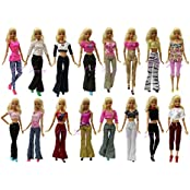Set Of 5 Quality Handmade Blouse + Trousers Pants Outfit Casual Wear For Barbie Clothes Xmas Gift