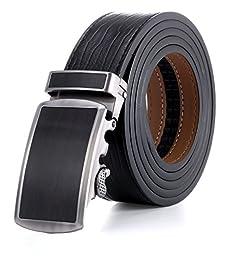 Marino Men\'s Wide Rimmed Imprinted Leather Ratchet Dress Belt 1.25\