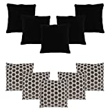 HOMEC Trandy Cushion Covers Set of 10 in 40 cm X 40 cm (Color - black)