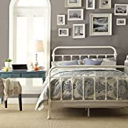 White Antique Iron Metal Bed Frame Vintage Bedroom Furniture Rustic Wrought Country Dark Bronze Wire Cast Womens Mens Girls Kids Princess Headboard Footboard Slats Rails Set Twin Full Queen King Sized (queen)