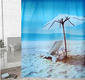 Amazon.com: Thickening Beach Scenery Shower Curtain Long