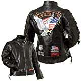 Diamond Plate Women's Leather Biker Jacket w/Live to ride patch
