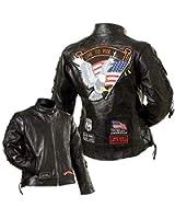 Diamond PlateTM Ladies Rock Design Genuine Buffalo Leather Motorcycle Jacket Size-Medium