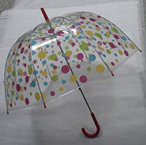 Umbrella - Multi Coloured Polkadot Dome - 23""