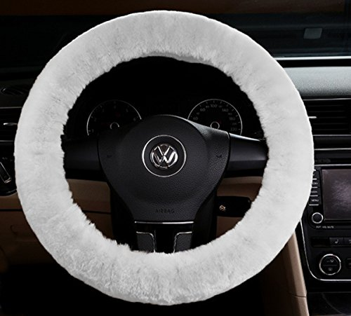 Zento Deals Soft Stretchable Sheepskin White Steering Wheel Cover Protector - A Must Have for All Car Owners for a More Comfortable Driving (Butterfly Car Seat Strap Covers compare prices)