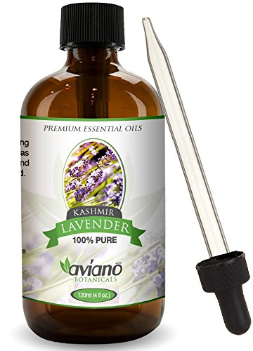 Kashmir Lavender Essential Oil - 100% Pure & Undiluted - Blue Diamond Therapeutic Grade By Aviano Botanicals (4 Ounce Bottle)