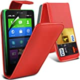 ONX3 Red Nokia X Protective Faux Credit / Debit Card Leather Flip Skin Case Cover & LCD Screen Protector Guard