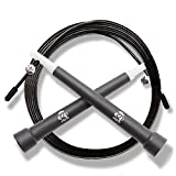 Plastic Fitness Jumprope with Adjustable 11 Foot Cable , Carrying Bag , Bonus 4K eBook and Replacement Parts - Black