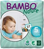 Bambo Nature Premium Baby Diapers, Junior, Size 5, 27 Count (Pack of 6)