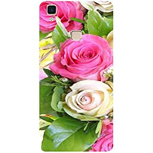 Casotec Rose Flowers Design 3D Printed Hard Back Case Cover for Vivo V3 Max