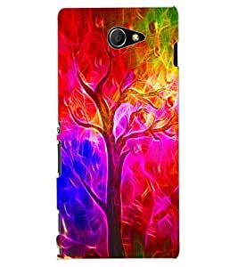 ColourCraft Colourful Tree Design Back Case Cover for SONY XPERIA M2