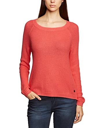 Tom Tailor Denim - Pull - Uni - Femme - Corail (4258) - FR : S (Taille Fabricant : XS)