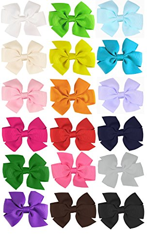 [HipGirl Boutique Girls Grosgrain Ribbon Hair Bow Clips, Barrettes. Perfect to Wear Alone or With Headband, Hat. (18pc 3