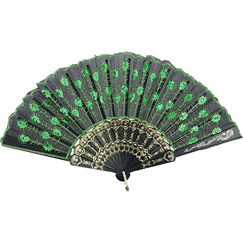 InnoLife Elegant Colorful Embroidered Flower Peacock Pattern Sequin Fabric Folding Handheld Hand Fan Hand-crafted (Green)