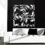 DeStudio Floral Decorative Wallpaper One Home Art Decor Removable Vinyl Room Wall Sticker, Size : MEDIUM, Color : GRAY