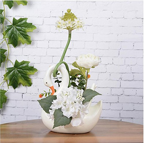 Artificial Flowers Bonsai Plants,artificial flowers with Elegance Swan Vase,Decoration for Living room,bedroom,porch,windowsill