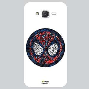Hamee Original Marvel Character Licensed Designer Cover Slim Fit Plastic Hard Back Case for Samsung Galaxy J7 - 2015 Edition (Spider man mask collage illustration white cover)