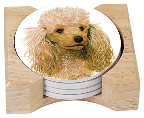 Poodle Absorbent Coasters  In Wooden Holder, Set of 4