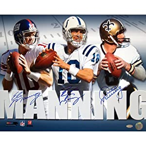 NFL New York Giants Archie, Eli & Peyton Manning Triple Signed Collage 16x20... by Steiner Sports