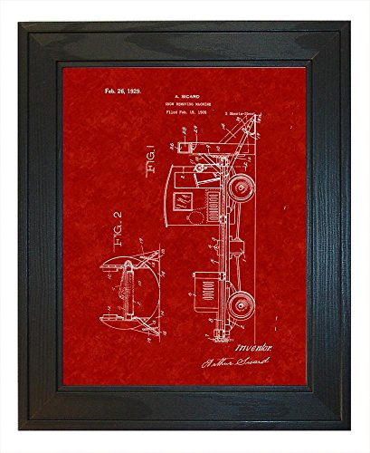 Snow-removing Machine Patent Art Burgundy Red Print in a Solid Pine Wood Frame (16