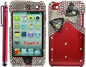 The Friendly Swede Bow Tie / Ribbon Premium 3D Diamond Protector Case for Apple iPod Touch 4 / 4G / 4th Generation - Red 4.5-Inch Branded Universal Capacitive Stylus Pen , Pry Removal Tool Included -Retail Packaging