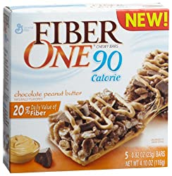 Fiber One 90 Calorie Chewy Bars, Chocolate Peanut Butter, 5-Count Boxes (Pack of 6)