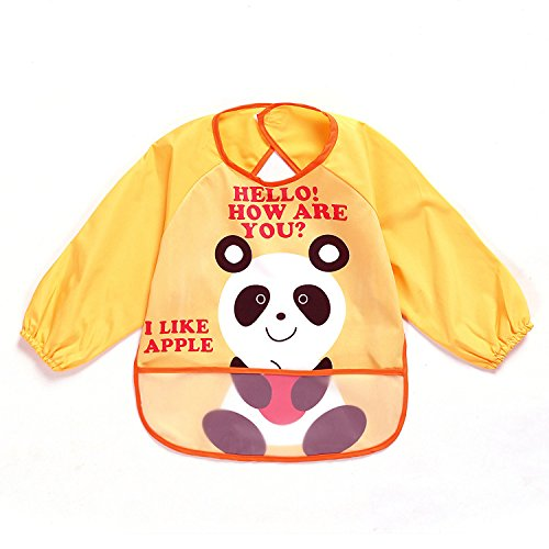 Hofoo Unisex Baby-Bavaglino a maniche lunghe impermeabile Smock Eat and Play, di-Grembiule per bambini in PEVA