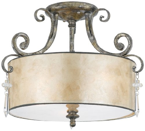 Quoizel KD1716MM Kendra 12-1/2-Inch Large Semi Flush Mount with Oyster Mica Shade, Mottled Silver