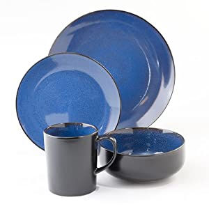 The Boutique Novabella Cobalt Blue/black 16 Piece Dinnerware SET