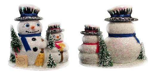 Ino Schaller Paper Mache Snowman Family Christmas Candy Container