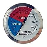 "DozyAnt 3"" 550F BBQ Barbecue Charcoal Grill Pit Wood Smoker Temp Gauge Grill Thermometer 2.5"" Stem SS RWB"