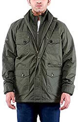 Time Option Men's Cotton Jacket (5002_Olive_38)