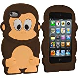 Dark Brown Monkey Silicone Rubber Gel Soft Skin Case Cover for iPod Touch 4th Generation 4G 4