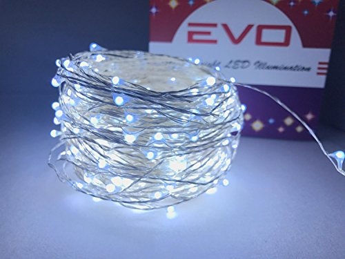 Extremely Cool White LED Firefly String Lights. 100FT Extra Long Waterproof Fairy Lights for Indoor or Outdoor Use.