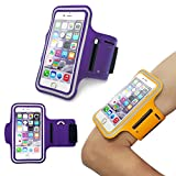 iPhone 6 (4.7 Inch) Sports Armband Case Cover,Nika shop Easy Fitting Sports Universal Armband With Build In Screen Protect Case Cover Running band Stylish Reflective Walking Exercise Mount Sports Sports Rain-proof Universal Armband Case with Key Holder Pocket + Free Screen Protect For Apple iphone6 4.7 inch Verizon, AT&T Sprint, T-mobile, Unlocked(Not Fit iPhone 6 Plus 5.5 inch) (Nika shop-Purple)