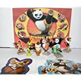 Kung Fu Panda Mini Toy Figure Playset of 8 with Po, Master Shifu, Tigress, The Furious Five and Bonus Sticker/Tattoo Set!