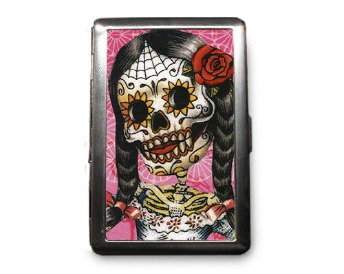Day of the Dead Skeleton Decorated ID Cigarette Case Wallet - CD284