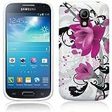 Etui de créateur pour Samsung Galaxy S4 Mini i9190 - Etui / Coque / Housse de protection blanc / violet en TPU/gel/silicone avec motif fleurs violettes