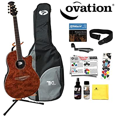 Ovation Celebrity CC28-AWFB Acoustic-Electric Guitar with DPS/Planet Waves 16 Pick Sampler, EJ16 Strings, PWS100 Strap, Ultra Stand, Gig Bag, Planet Waves Cleaning Care Kit