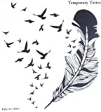 Spestyle new design hot selling fashionable large feather and many birds temporary tattoo stcker