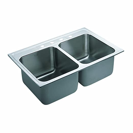 Moen 22121 Commercial Sink 18 ga 4 hole, Stainless