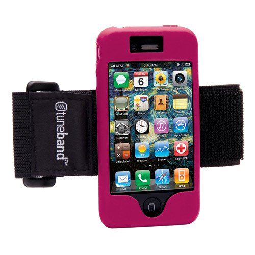 Tuneband for iPhone 4 and iPhone 4S, Grantwood Technology's Armband, Silicone Skin, and Front and Back Screen Protector, Pink