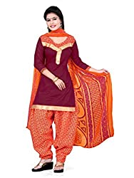 Lovely Look Latest Maroon Printed Dress Material