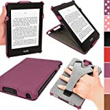 IGadgitz Purple PU 'Heat Molded' Leather Case Cover for Amazon Kindle Paperwhite 2012 & New 2013 versions 3G 6 Display Wi-Fi 2GB. With Sleep/Wake Function & Integrated Hand Strap