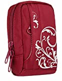 BAXXTAR MANGA III Digital Camera Bag Case * Red / White * for Canon PowerShot SX700 SX600 SX280 SX270 - Nikon Coolpix S9700 S9600 S9500 - Samsung WB800F WB850F WB150F WB250F WB350F -- Sony CyberShot DSC HX60V HX50V -- Panasonic Lumix DMC TZ60 TZ55 TZ50 T