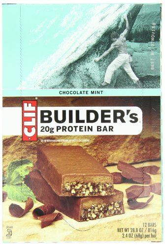 Clif Bar Builders Bar, Chocolate Mint, 2.4-Ounce Bars, 12 Count