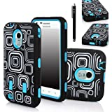 Galaxy S2 Case, E LV GALAXY S2 EPIC 4G TOUCH D710 CCase - Shock-Absorption / High Impact Resistant Hybrid Dual Layer Armor Defender Full Body Protective Case Cover (Hard Plastic with Soft Silicon) for Samsung Galaxy S2 Epic 4G Touch D710 (Sprint, US Cellular, Boost Mobile) (ONLY COMPATIBLE WITH SAMSUNG GALAXY S2 EPIC 4G TOUCH D710) - Square Blue