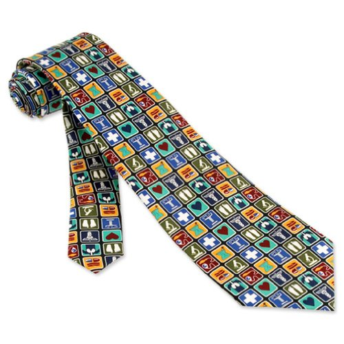 Medical Professional Black Silk Tie
