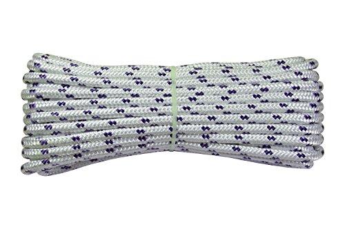 Corderie Italiane 006001706 Corda Nautica Intrecciata, 5 mm, 30 m, Colore Bianco con Segnalino Blu