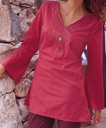 Deep V Neck Embroidery & Stone Work Ladies Blouse Tunic Top Kurta Kurti